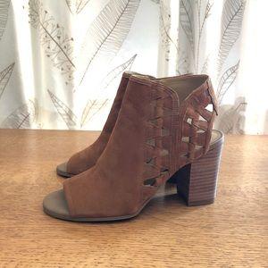 Franco Sarto Leather Peep Toe Heels